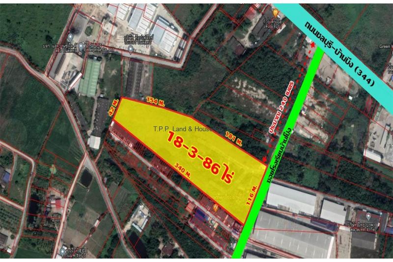 ที่ดิน 18 - 3 - 86 ไร่  ถนนชลบุรี - บ้านบึง  (344)  จ.ชลบุรี